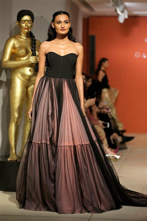 Corseted gown with 2 tier tulle skirt