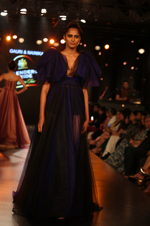 V neck with big ruffles & bows with two tone gown