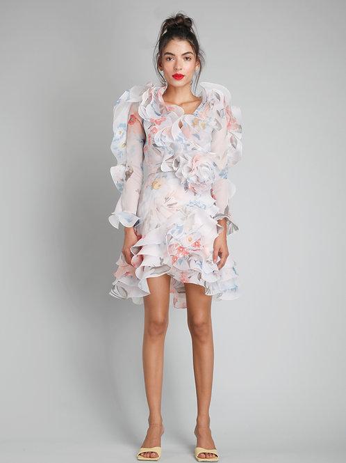 V-neck ruffled short dress