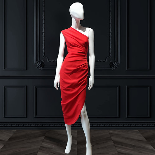 One shoulder side ruched asymmetrical dress
