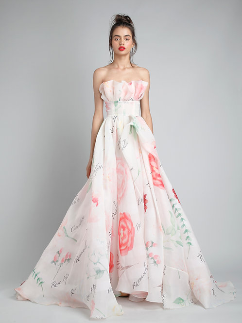 Ruffled corsetted gown