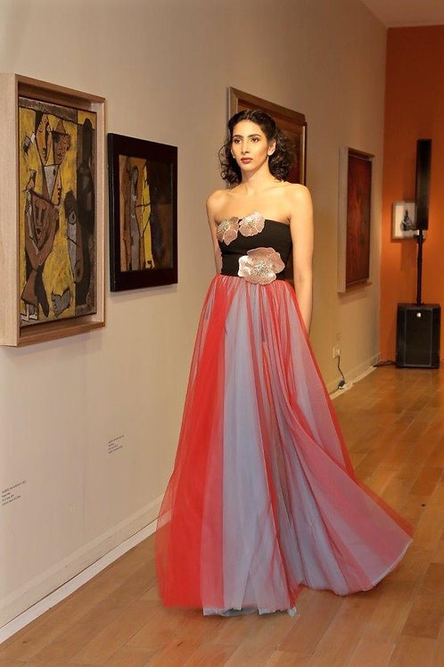 Strapless tulle gown with 2 shade skirt