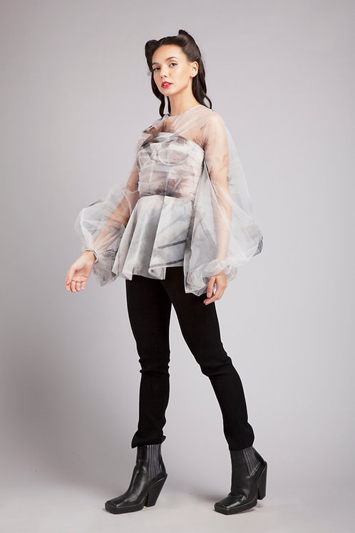 Corsetted pouf sleeves top