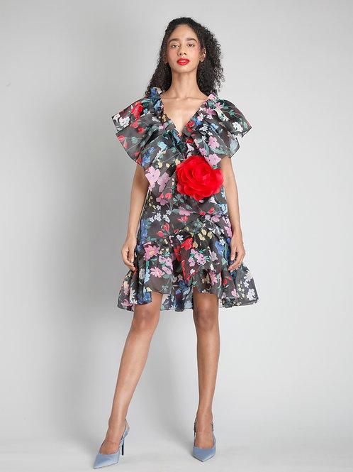 V-neck frilled short dress
