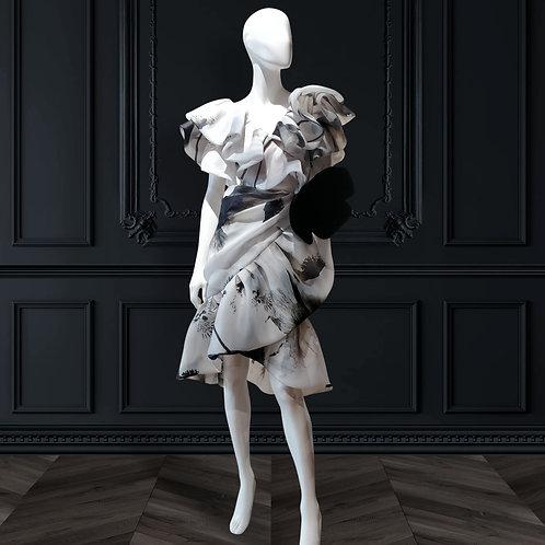 Layered bubble ruffle overlapping skirt dress with ruffle