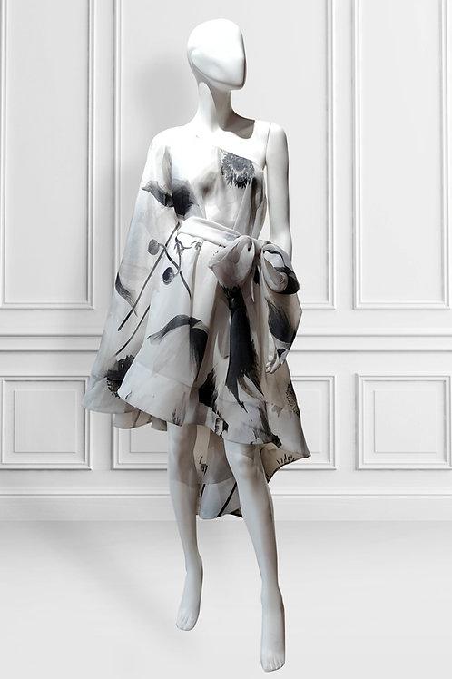 One shoulder cape sleeve belted dress