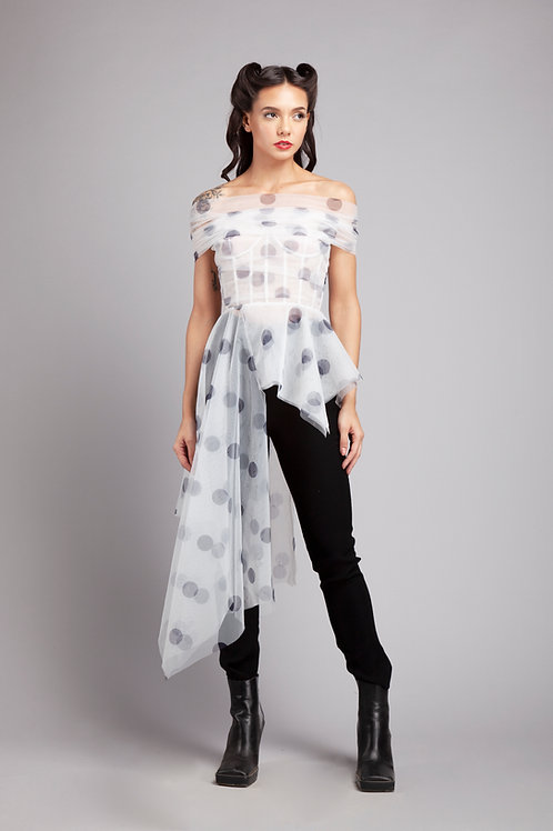 Side trail top with shoulder drape