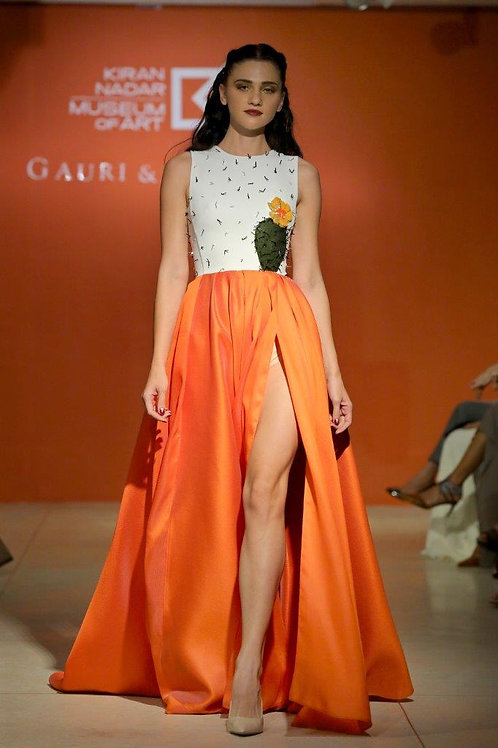 High slit gown with cactus