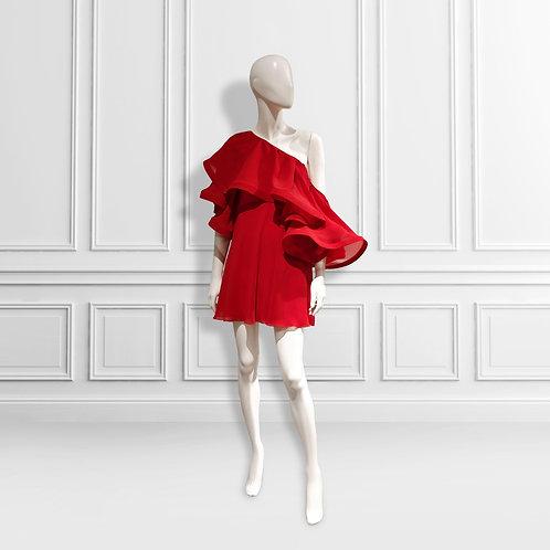 One shoulder cold shoulder hh frill trapeze dress