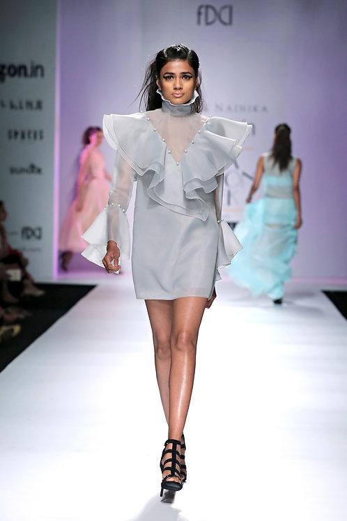 Full sleeve high collar shift dress with big v-ruffles