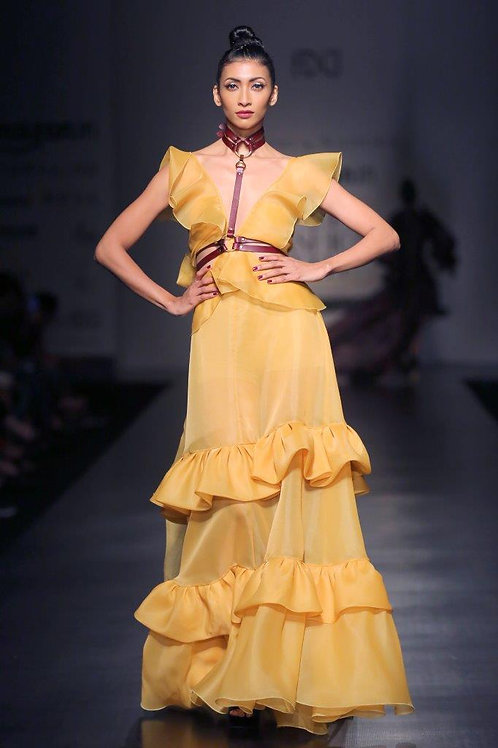 V-neck cut-out gown with frill detailing
