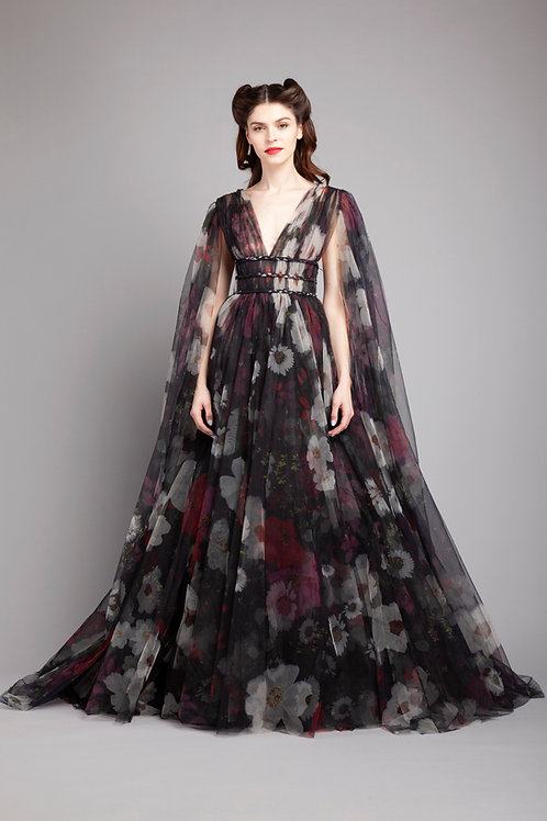 Cape sleeves cinched waist flared gown