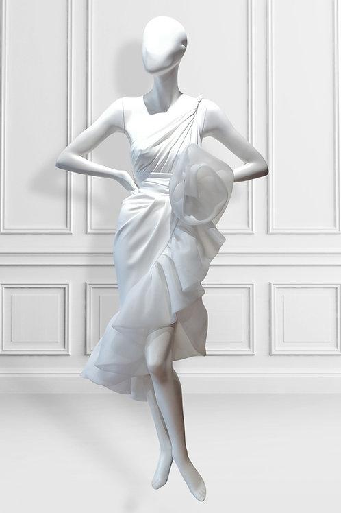 One shoulder twisted strap bubble ruffle hem high low  dress