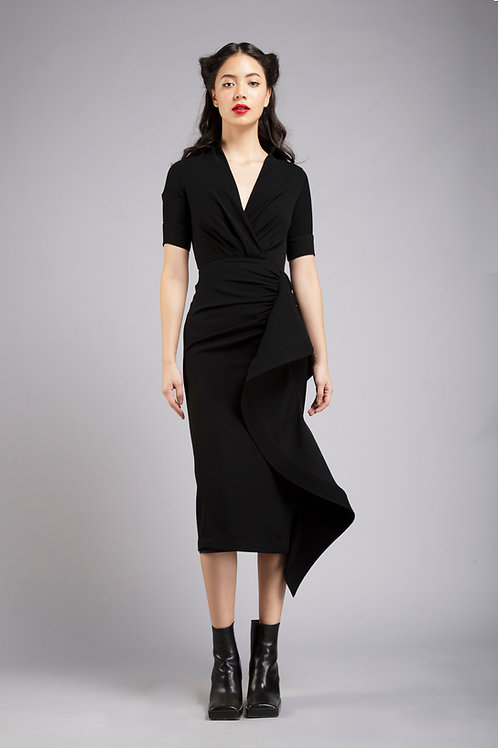 Collared neck pencil dress with sculpted frill detail