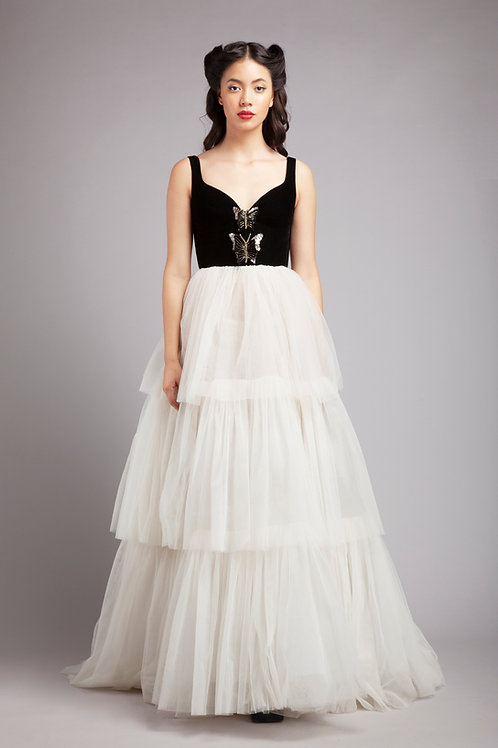 Corsetted butterfly tiered gown