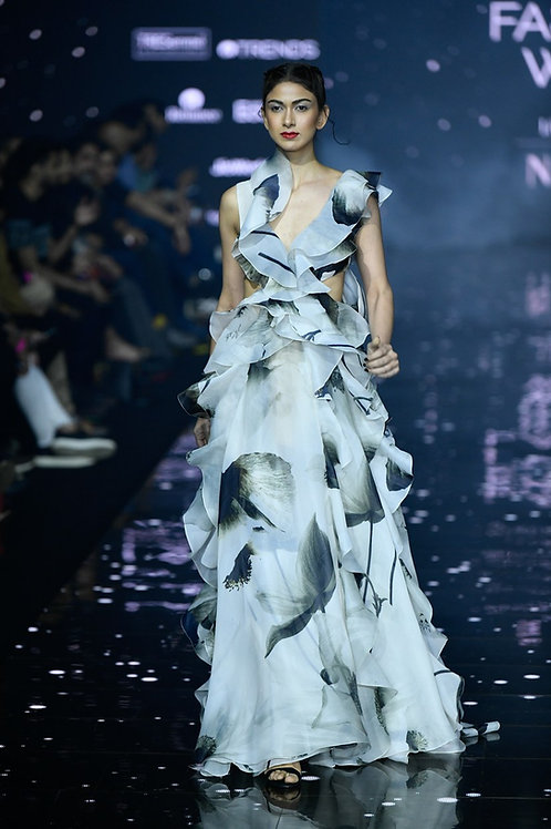 Frilled cut out gown with tied bow at the back