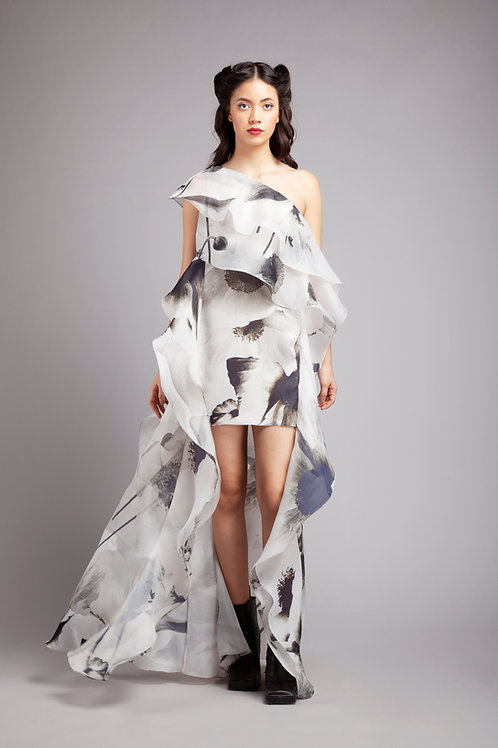 One shoulder shift dress with cascading side ruffles and trailing hem