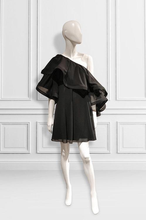 One shoulder cold shoulder frill trapeze dress