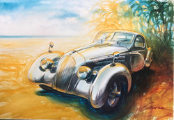 1930's Bugatti on the beach