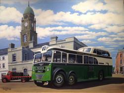 Green-Cream Bus