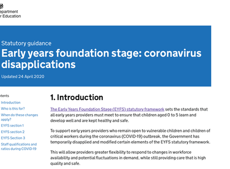 Early years foundation stage: coronavirus disapplications. Updated 24 April 2020