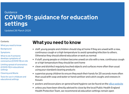 COVID-19: guidance for education settings