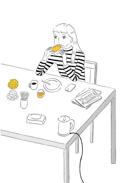 朝食(パン、マーマレード、インスタントコーヒー)