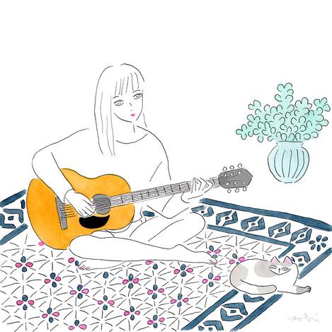 秋の夜長、猫とギター