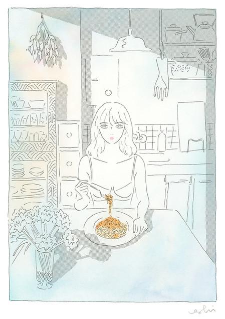 お昼のミートソーススパゲティ