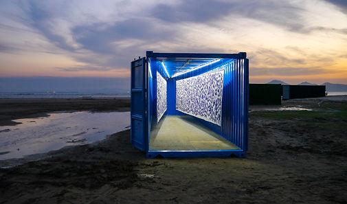2015, 최선, 나비, Ink on Canvas, 해변에 컨테이너 설치