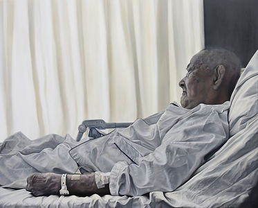 D Hwang, Old man in hospital bed, oil on