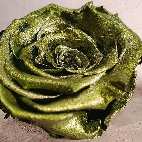 Metallic Green / set of 2 roses