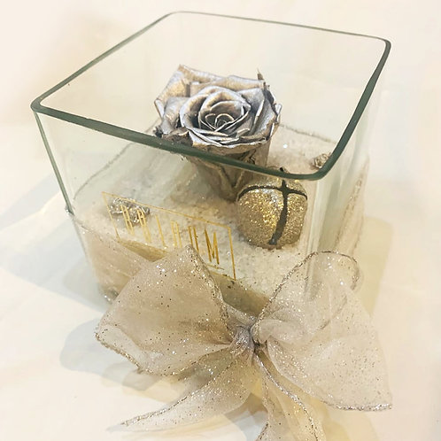 Silver Forever Rose in an Open Glass Container