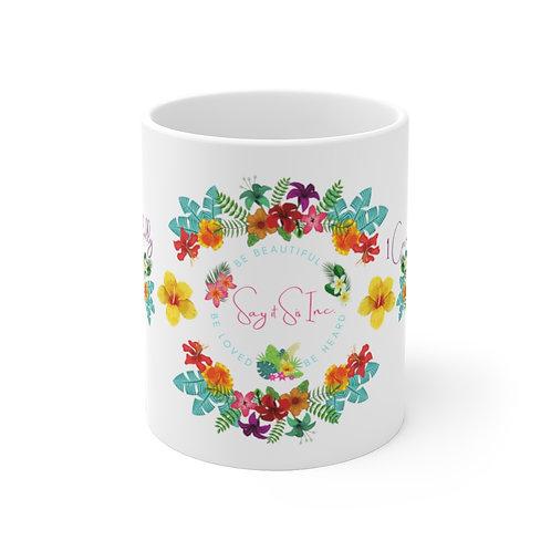 Bloom Beautifully White Ceramic Mug