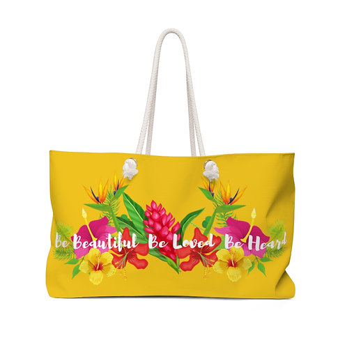 Bloom Where You are Planted Yellow Weekender Bag