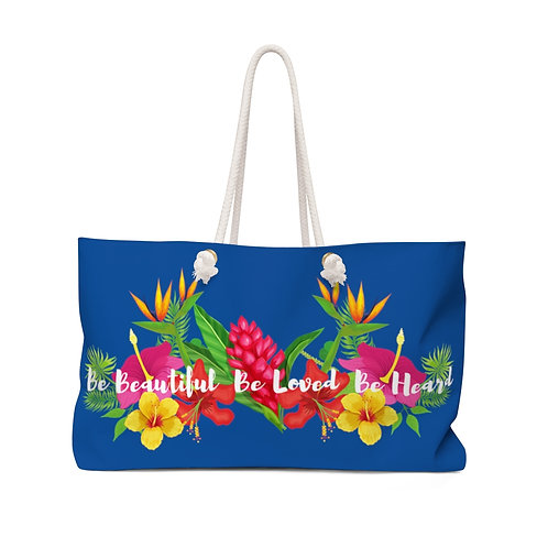 Bloom Where You are Planted Blue Weekender Bag