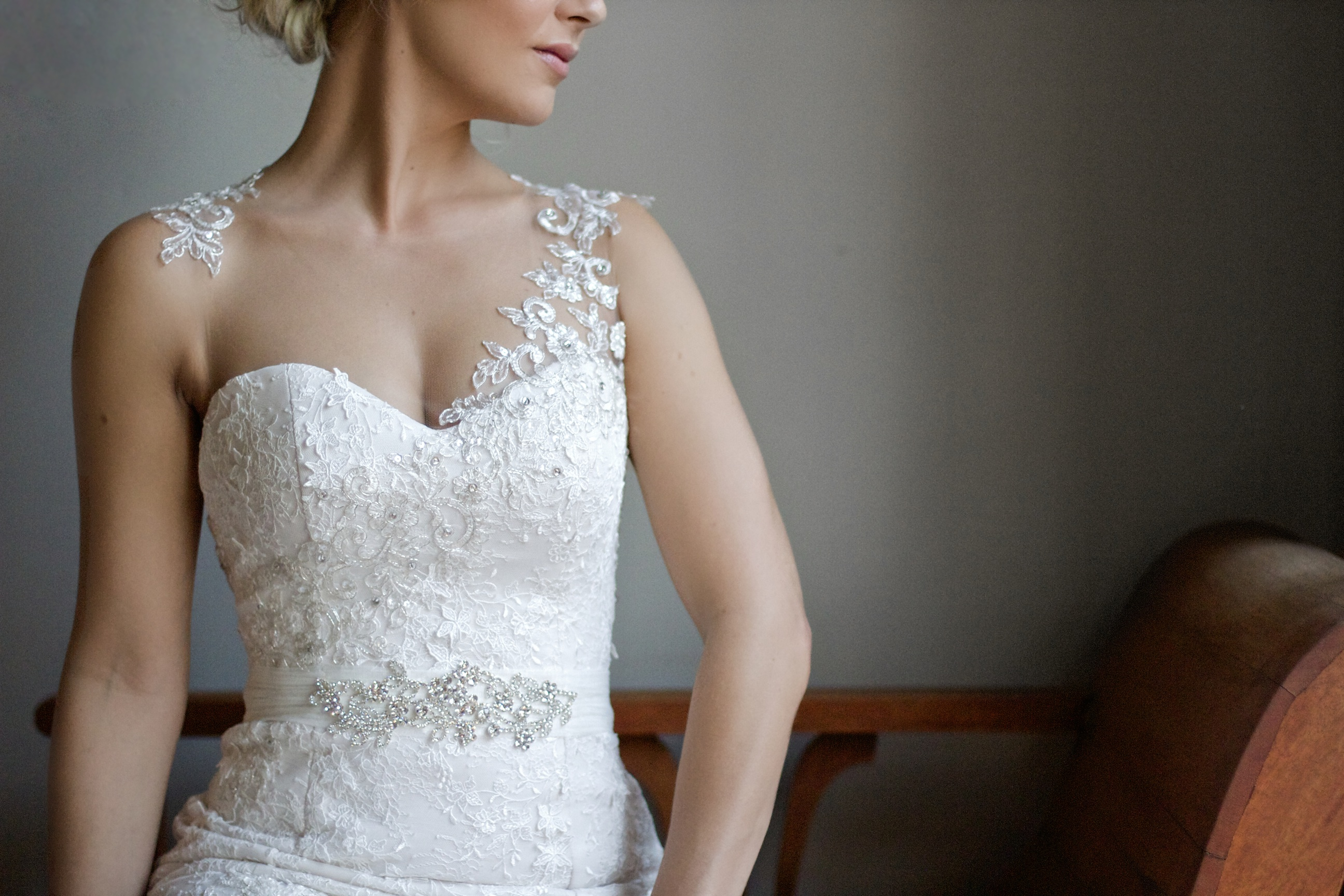 Chantilly lace wedding dress with nude n