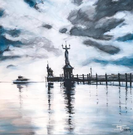 Konstanzer Hafen, 120 x 120 cm, Acryl auf Leinwand