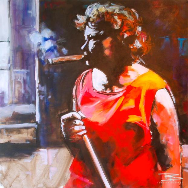 Cubanerin mit Zigarre