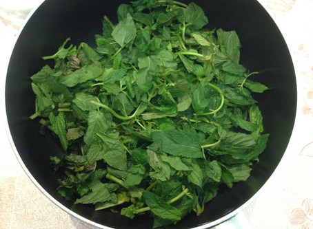 Making Mint Syrup
