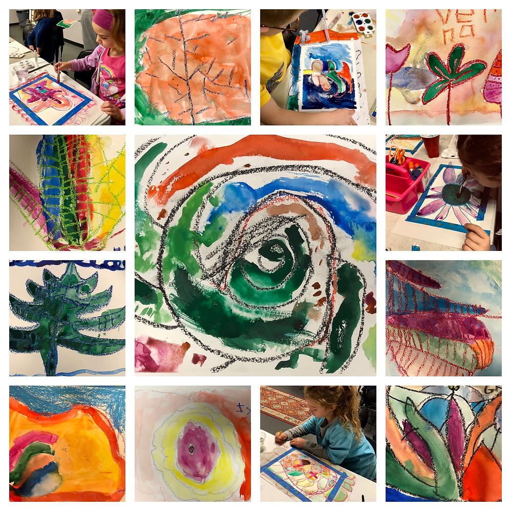 K-3rd Grade Big Flowers-Watercolor & Oil Pastel