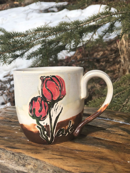 Red Tulip Mug 12 ounce size