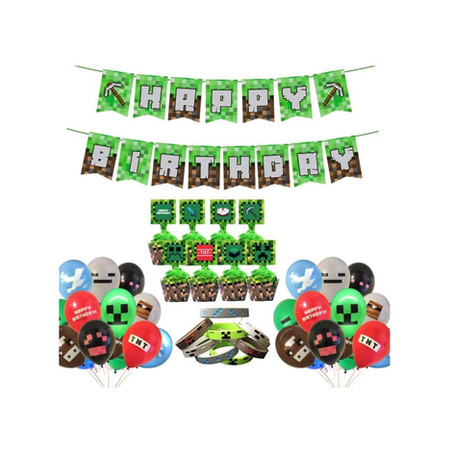 Party Supply Pack With Pixel Theme