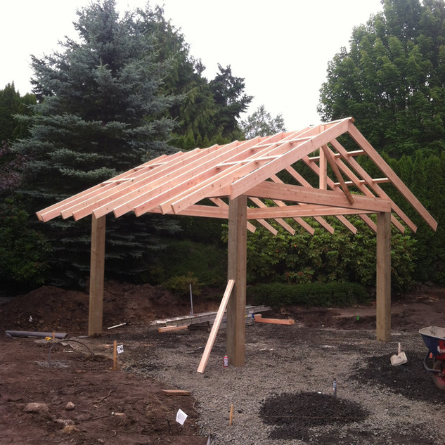 Outdoor structure being installed