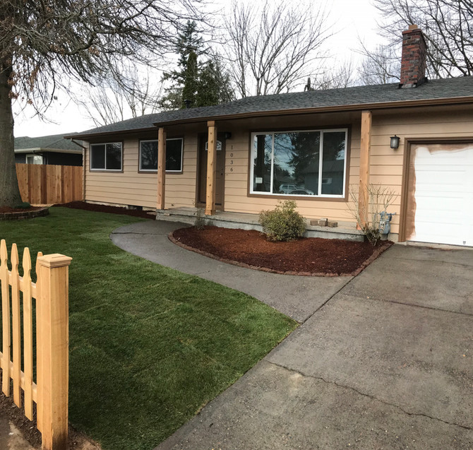 Gresham house flip, landscaping the front