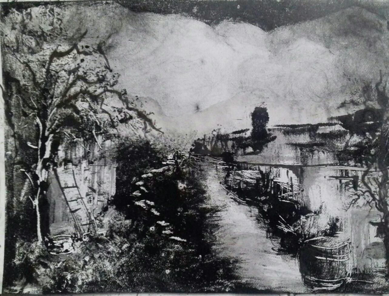 Canal, Monotype encre, 30x40 cm 2017