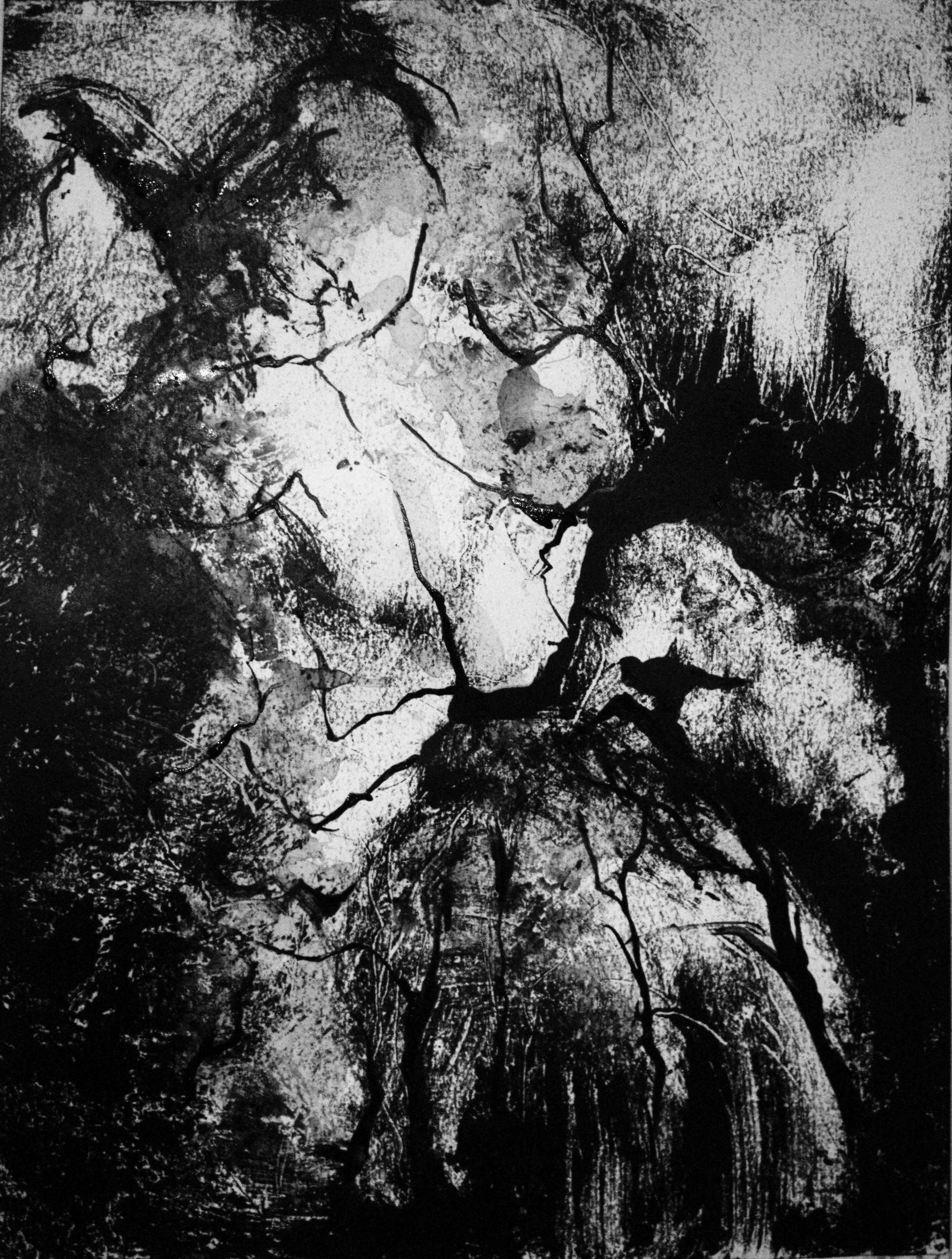 Femme 2, Monotype encre, 30x40 cm, 2018