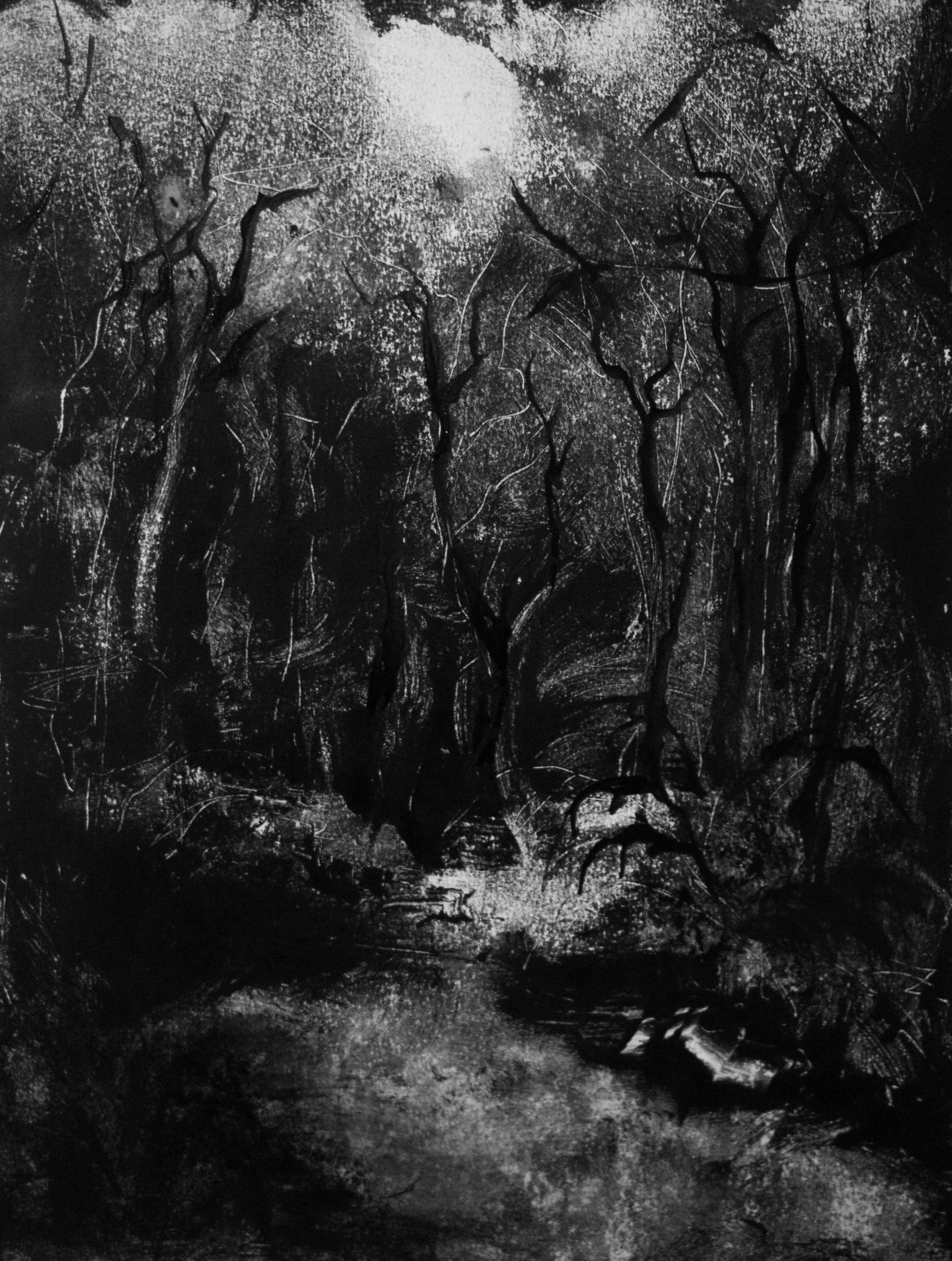 Nuit, Monotype encre, 30x40 cm, 2018