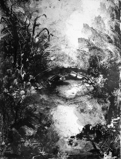 Pont, Monotype encre, 30x40 cm, 2018