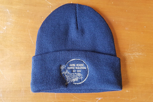 Navy Blue Fleece-Lined Knit Hat